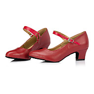 billige Moderne sko-Dame Moderne Lær Joggesko Profesjonell Tykk hæl Svart Rød
