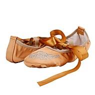 billige Ballettsko-Dame Ballett Silke Flate Innendørs Akryl Diamant Flat hæl Kamel
