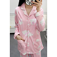 Feminino Baby-doll & Slip Pijamas,Estampado Estampado Poliéster Azul Rosa