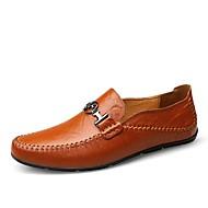 お買い得  紳士靴-男性用 靴 合皮 / レザー 春、夏、秋、冬 コンフォートシューズ ローファー&スリップアドオン ブラック / レッド / ダークブラウン