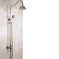 Antique Centerset Waterfall Pullout Spray Rotatable Ceramic Valve Single Handle Two Holes Antique Copper , Shower Faucet