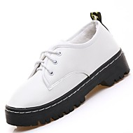 cheap Women's Oxfords-Women's Shoes PU Winter Comfort Oxfords Low Heel Round Toe for Casual White Black