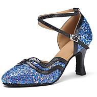 billige Kustomiserte dansesko-Moderne sko Paljett / Fuskelær Sandaler / Høye hæler Sløyfer Kustomisert hæl Kan spesialtilpasses Dansesko Svart / Blå