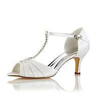 女性用 靴 ストレッチサテン 夏 ベーシックサンダル ウェディングシューズ スティレットヒール オープントゥ / ピープトウ クリスタル クリスタル / パーティー