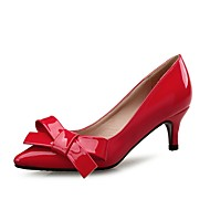 cheap Women's Heels-Women's Shoes Patent Leather Spring Fall Comfort Heels Low Heel Pointed Toe Bowknot for Wedding Party & Evening Almond Red