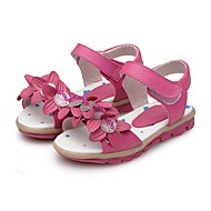 cheap Girls' Shoes-Girls' Shoes Leatherette Summer First Walkers Comfort Sandals Rhinestone Magic Tape Flower for Casual Dress Peach