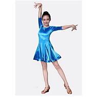 levne Taneční boty a oděvy-Dětské taneční kostýmy Šaty Výkon Velvet šifon Volány Poloviční rukáv Přírodní Šaty