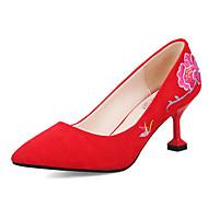 Femme Chaussures Cuir Nubuck Printemps Automne Confort Escarpin Basique Chaussures à Talons Talon Personnalisé Bout pointu Fleur en Satin