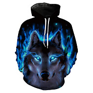 Men's Plus Size Long Sleeve Hoodie - 3D / Animal Wolf, Print Hooded Blue XL / Spring / Winter