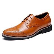 tanie Small Size Shoes-Męskie Buty Skóra Wiosna Jesień Comfort Oksfordki na Biuro i kariera Impreza / bankiet Black Light Brown Dark Brown