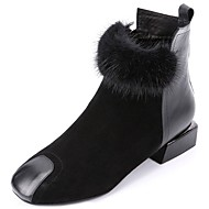 cheap Top Selling-Women's Shoes Suede PU Winter Fall Comfort Fashion Boots Boots Low Heel Square Toe Booties/Ankle Boots for Casual Black