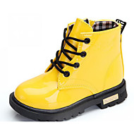 cheap Girls' Shoes-Girls' Shoes Patent Leather Fall Winter Snow Boots Comfort Boots Walking Shoes Booties/Ankle Boots Lace-up Zipper for Casual Black Yellow