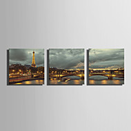 E-HOME® Stretched LED Canvas Print Art Tower And Bridge Under The Light LED Flashing Optical Fiber Print Set of 3