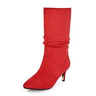 baratos Sapatos de Tamanho Pequeno-Mulheres Sapatos Pele Nobuck Outono / Inverno Botas da Moda Botas Salto Agulha Dedo Apontado Botas Cano Médio Drapeado Lateral Preto /