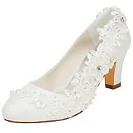 baratos Sapatos Femininos-Mulheres Sapatos Cetim com Stretch Primavera / Outono Plataforma Básica Sapatos De Casamento Salto Robusto Ponta Redonda Cristais /
