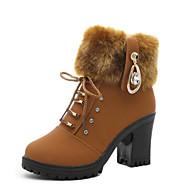 billige -Dame Sko Egte Lær Vinter Høst Pom-pom Trendy støvler Støvler Tykk hæl Rund Tå Støvletter til Avslappet Svart Brun
