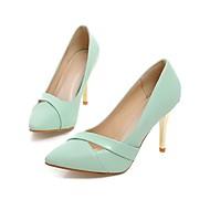 tanie Small Size Shoes-Damskie Obuwie Derma Wiosna Lato Comfort Szpilki Szpilka Pointed Toe na Ślub Impreza / bankiet Black Green Różowy