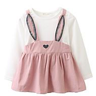 赤ちゃん 女の子の カジュアル/普段着 ソリッド コットン ドレス 長袖 シンプル キュート 活発的 ピンク イエロー