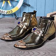 baratos Sapatos Masculinos-Homens Curta/Ankle Pele Napa Outono / Inverno Botas Botas Curtas / Ankle Dourado / Preto / Vermelho / Festas & Noite