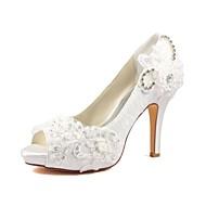 ador® kvinders sko stretch satin forår / sommer basal pumpe bryllup sko stiletto hæl peep tå krystal / perle elfenben / fest& aften