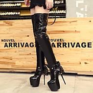 Feminino Sapatos Couro Envernizado Inverno Outono Botas da Moda Botas Plataforma Ponta Redonda Botas Acima do Joelho para Casual Preto