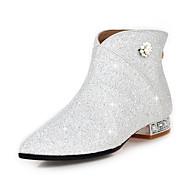 お買い得  レディースブーツ-女性用 靴 スパークリンググリッター スパンコール 化繊 冬 秋 ファッションブーツ ブーティー ブーツ クリスタルヒール ポインテッドトゥ ブーティー/アンクルブーツ ラインストーン スパンコール イミテーションパール のために ドレスシューズ パーティー ゴールド