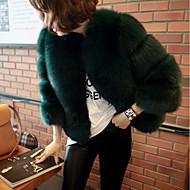 Women's Casual / Daily Fall / Winter Short Fur Coat, Solid Colored V Neck Long Sleeve Faux Fur Fur Trim Black / Pink / Army Green XL / XXL / XXXL