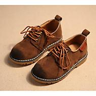 Недорогие -Мальчики обувь Полиуретан Зима Осень Удобная обувь Туфли на шнуровке для Повседневные Серый Коричневый Вино