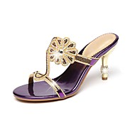 cheap Women's Sandals-Women's Shoes Real Leather Spring Summer Slingback Comfort Novelty Sandals Stiletto Heel Open Toe Rhinestone Crystal for Wedding Party &