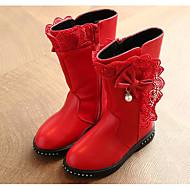 Para Meninas sapatos Micofibra Sintética PU Inverno Outono Conforto Botas da Moda Botas Caminhada Botas Cano Médio Laço Para Casual Preto
