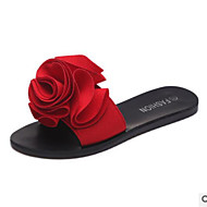 cheap Women's Slippers & Flip-Flops-Women's Shoes PU Summer Comfort Slippers & Flip-Flops Flat Heel Open Toe for Black Red Green Pink