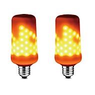 billige Kornpærer med LED-2pcs 5 W 350-450 lm E27 LED-kornpærer 99 LED perler SMD 2835 Mulighet for demping / Dekorativ / Flame Effect Varm hvit 85-265 V / RoHs
