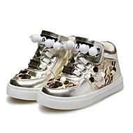 baratos Sapatos de Menina-Para Meninas Sapatos Courino Outono Forro de fluff Primeiros Passos Conforto Tênis Lantejoulas Ziper para Casual Ao ar livre Dourado