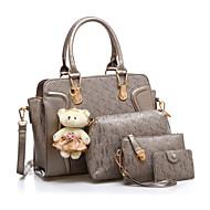お買い得  バッグセット-女性用 バッグ PU バッグセット 4個の財布セット パターン/プリント パープル / フクシャ / ワイン
