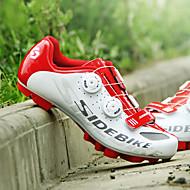SIDEBIKE Voksne Cykelsko m. pedal og tåjern / Mountain bike sko Kulstoffiber Dæmpning Cykling Rød og Hvid Herre