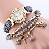 billige Quartz-Dame Quartz Armbåndsur Kinesisk Imiteret Diamant PU Bånd Blomst Afslappet Eiffeltårnet Bohemisk Mode Sort Blåt Rød Brun Gråt Himmelblå