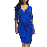 Women's Going out Sheath Dress - Solid Colored V Neck