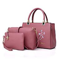 Χαμηλού Κόστους Σετ τσάντες-Γυναικεία Τσάντες PU Σετ τσάντα 3 σετ Σετ τσαντών Κέντημα Ρουμπίνι / Ανθισμένο Ροζ / Γκρίζο