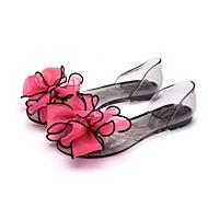 זול סנדלי נשים-נשים נעליים גומי קיץ נעליים שקופות סנדלים שטוח בוהן מציצה פרח סאטן ל קזו'אל שחור אדום ורוד