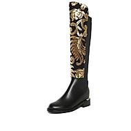cheap -Women's Shoes Leather Winter Boots Walking Shoes Flat Heel Black