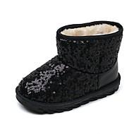女の子 靴 ラバー ヌバックレザー 冬 秋 スノーブーツ ファーライニング ブーツ ウォーキング ミドルブーツ ラインストーン フラワー のために カジュアル ブラック ダークブルー フクシャ