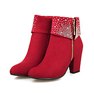 cheap Women's Boots-Women's Shoes Suede Fall / Winter Comfort / Novelty / Bootie Boots Chunky Heel Pointed Toe Booties / Ankle Boots Rhinestone Black / Red /
