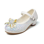 cheap Girls' Shoes-Girls' Shoes Glitter Spring Fall Comfort Flower Girl Shoes Tiny Heels for Teens Heels Crystal Bowknot Magic Tape for Wedding Dress Light