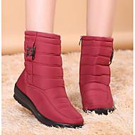 Damen Schuhe Polyamid-Faser Winter Herbst Schneestiefel Stiefel Flacher Absatz Runde Zehe Mittelhohe Stiefel für Normal Schwarz Braun Rot