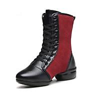 baratos Sapatilhas de Dança-Mulheres Botas de Dança Micofibra Sintética PU Botas / Meia Solas Salto Baixo Sapatos de Dança Preto / Preto / Vermelho