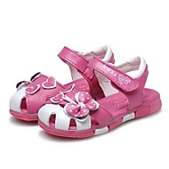 cheap Girls' Shoes-Girls' Shoes Leather Summer Comfort / First Walkers Sandals Rhinestone / Bowknot / Ruched for Peach