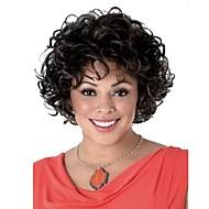 halpa -Naisten Synteettiset peruukit Lyhyt Kihara Musta Musta / tumma Auburn Raidoitetut hiukset Luonnollinen peruukki Julkkis peruukki Rooliasu