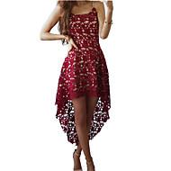Dame Fest I-byen-tøj Kjole - Ensfarvet, Blonder Asymmetrisk V-hals