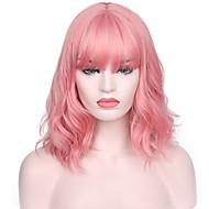Kvinder Syntetiske parykker Kort Vand-bølget Pink Natural Hairline Med bangs / pandehår Naturlig paryk Kostumeparyk