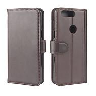 billiga Mobil cases & Skärmskydd-fodral Till OnePlus 5 / OnePlus 5T Plånbok / Korthållare / med stativ Fodral Enfärgad Hårt Äkta Läder för One Plus 5 / OnePlus 5T
